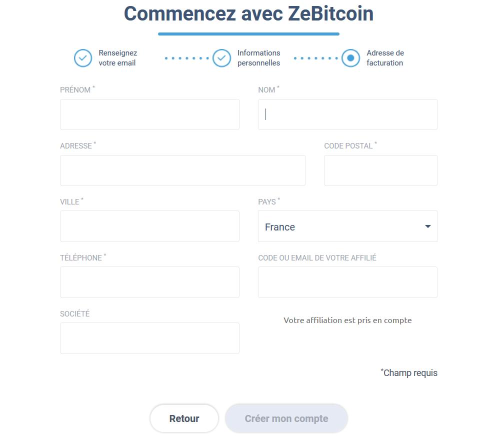Formulaire adresse de facturation ZeBitcoin