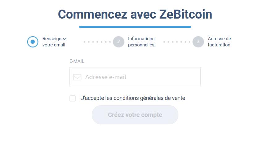 Formulaire d'inscription ZeBitcoin