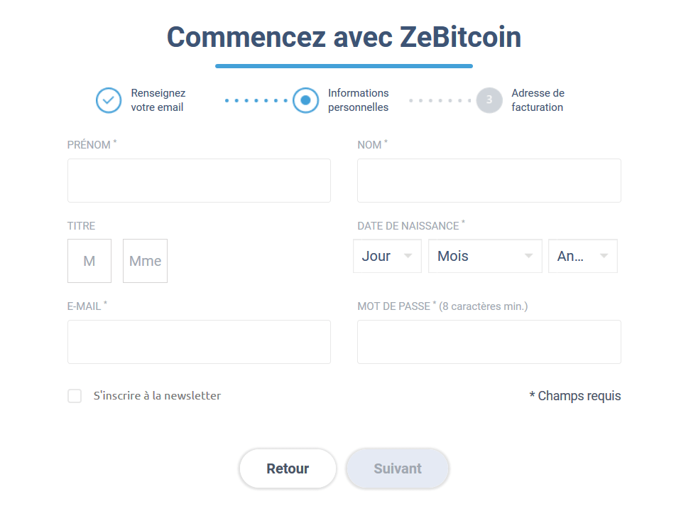 Formulaire informations personnelles ZeBitcoin