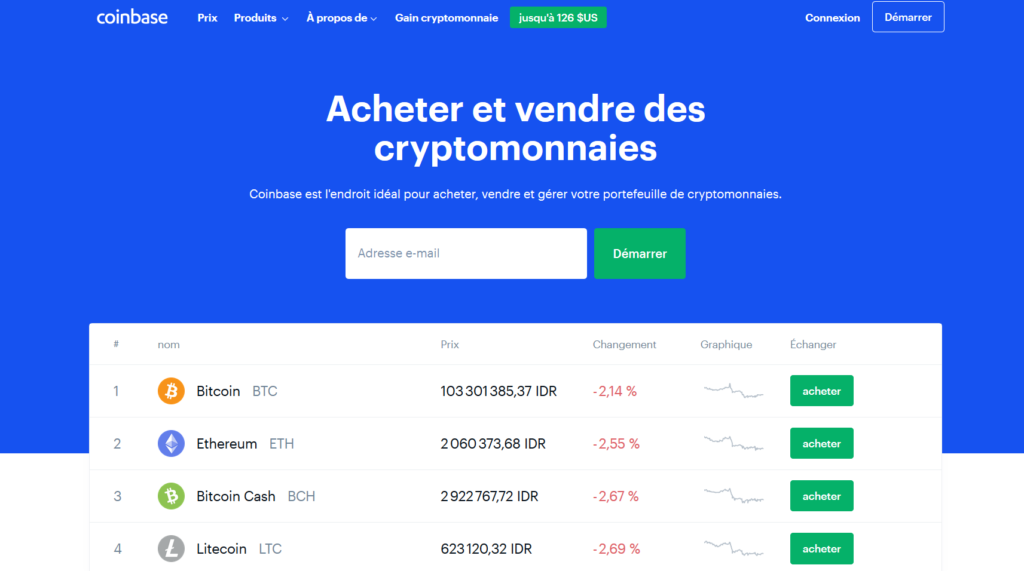 page accueil coinbase